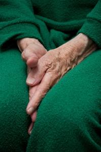 """""""Old woman's hands tucked between her legs"""", d'Horia Varlan"""