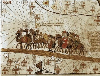 Caravana de Marco Polo. Il·lustració de l'Atles Català de 1375. Via Pilar Rubio, Flickr