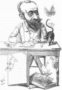 Caricatura d'Apel·les Mestres feta per Àngel Pons el 1889