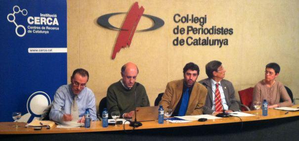 D'esquerra a dreta: Xavier Lasauca, Miquel Duran, Lluís Rovira, Enric Canela i Cinta S. Bellmunt. Imatge: CERCA.
