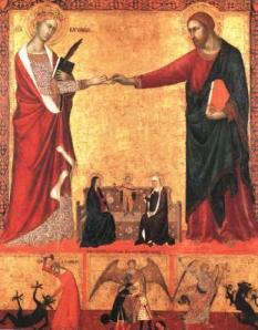 Una de les pintures que representa el matrimoni místic entre santa Catalina de Siena i Jesús Crist