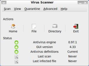Pantalla antivirus ClamAV a Ubuntu