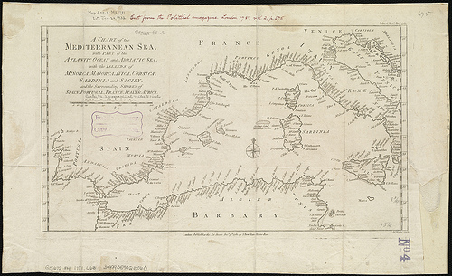 """A chart of the Mediterranean Sea..."" (1781), foto de Norman B. Leventhal Map Center at the BPL, al Flickr"