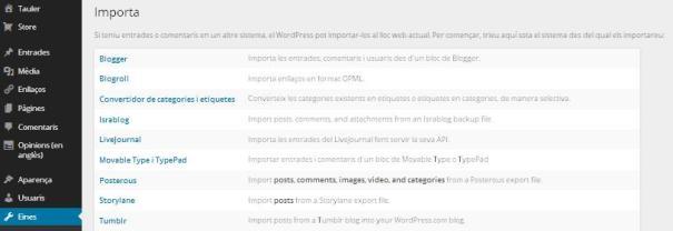 Importació a WordPress