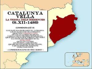 Plànol de Catalunya que centra el conflicte dels remences a la Catalunya Vella.