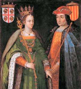 Retrat del matrimoni de Peronella (hereva d'Aragó) i Ramon Berenguer IV (de Catalunya. Al marge superior esquerra hom pot veure l'escut que  tenia el regne d'Aragó abans de la seva unió dinàstica amb Catalunya