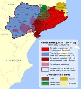 Territoris governats per Ramon Berenguer IV. Primer tenim Catalunya, els comtats occitans ja feia temps que estaven vinculats a Catalunya, cal afegir-hi Aragó - pel seu matrimoni amb Peronella- i les conques de Lleida, Franga i Tortosa als musulmans.