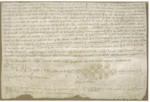 """Document de la donació de Mollerussa a Arnau Berenguer d'Anglesola a Arnau Rufac en què apareix el nom """"Muleruza"""""""