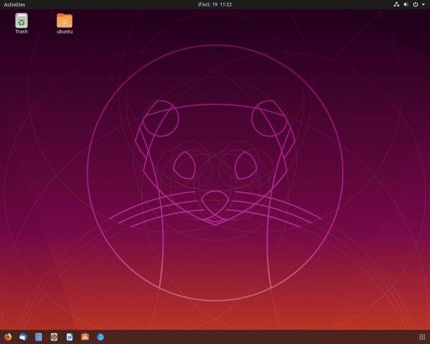 Escriptori de l'Ubuntu 19.10