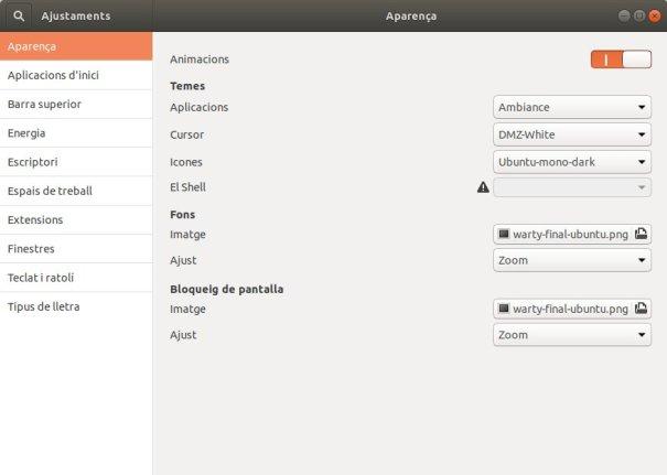 Panell d'ajustaments de l'Eina d'ajustaments del GNOME