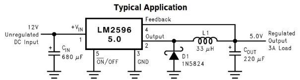 Circuit d'aplicació del CI LM2596 5.0