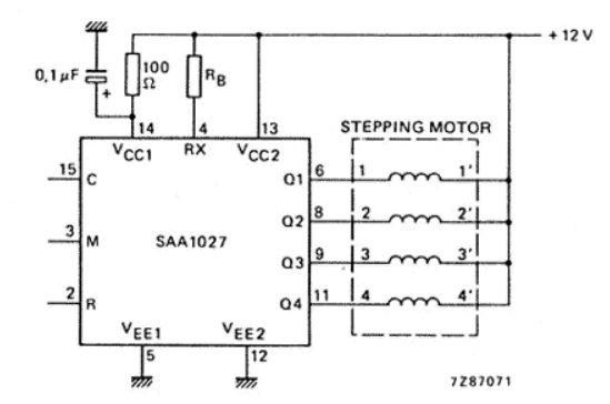 Circuit típic d'aplicació del SAA1027