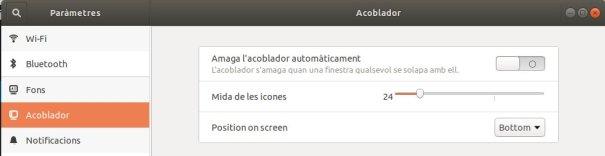 Posició barra acoblador Ubuntu