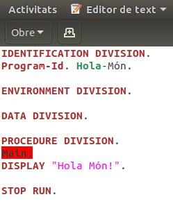 Programa Hola-Món en COBOL